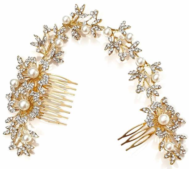 RosaStella Wedding Gold Rhinestone Pearls Flower and Leaf Hair Comb Bridal Vintage Headpiece Crystal Women Hair Comb Bridal Hair Comb Wedding Hair Piece Wedding Accessories Hair Accessory Set