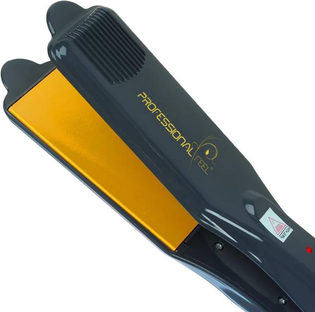 PROFESSIONAL FEEL PF-1100 Professional Hair Straightener With 4 X Protection Coating Gold Women's Straightening Styler Machine for Hair Saloon 4 X Protection Gold Coating Electric Hair Styler Corded Electric Hair Styler Hair Straightener