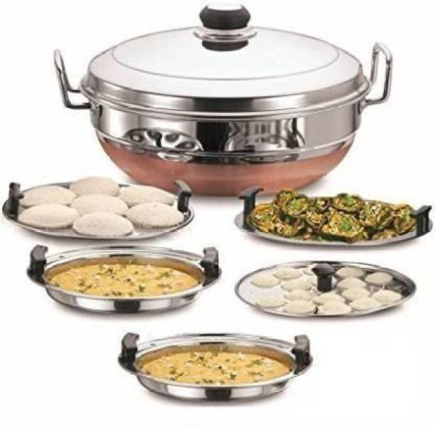 Jamuna All-in-One Stainless Steel Idli Cooker Multi Kadai Steamer with Copper Bottom, Big Size with 5Plates 2Idli; 2 Dhokla; 1 Patra Induction & Standard Idli Maker