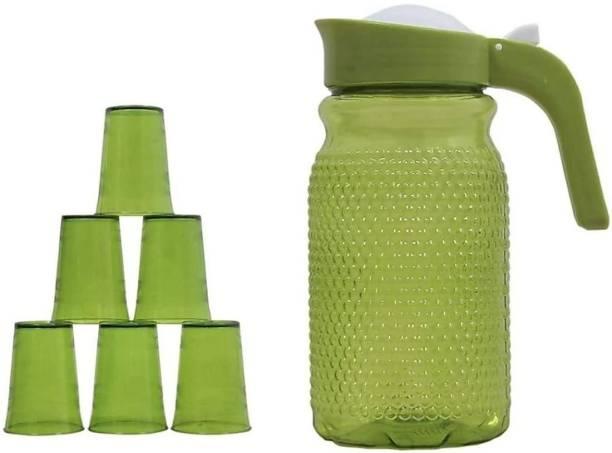 Gadar 1.5 L unbreakable jug with beautiful 6 glasses set for juice /water serves nbreakable jug Jug Glass Set