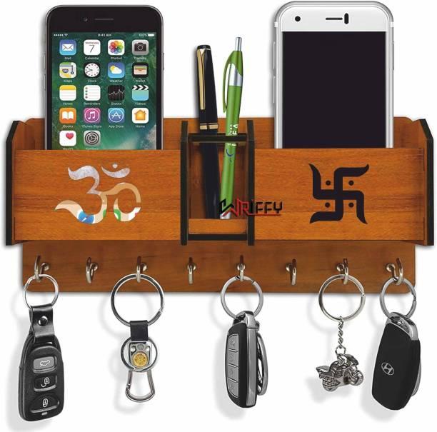 WRIFFY Wooden 2 Pocket Pen Stand 8 Hook Wood Key Holder