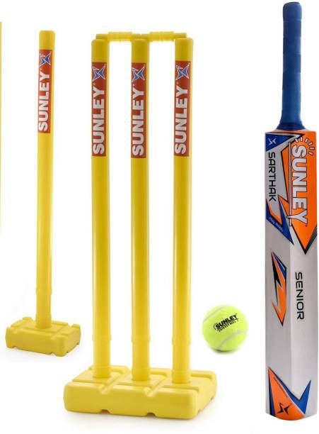 SUNLEY Sarthak Wooden Popular Willow Cricket Bat with 4 Stump Set & 1 Tennis Ball/Cricket Set For Senior Cricket Kit