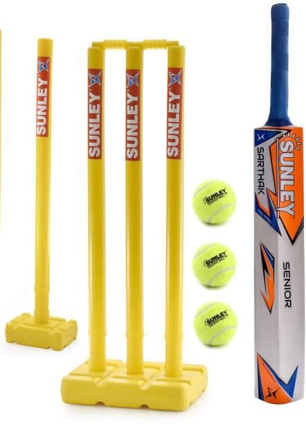 SUNLEY Sarthak Wooden Popular Willow Cricket Bat with 4 Stump Set & 3 Tennis Ball/Cricket Set For Senior Cricket Kit