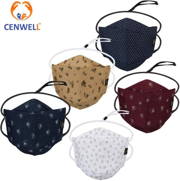 CENWELL Unisex 100% Cotton Designer 3D Shape HEADLOOP Face Mask 6 Layer Protective Fashionable Fabric N95 Cotton Fabric Mask for Men ,Women ,Girls , Teens with Adjustable Ear loop ,Ear Saver Strap (Reusable Mask , Washable Mask , Pollution Mask) 3D FACE MASK Water Resistant, Reusable, Washable Cloth Mask With Melt Blown Fabric Layer