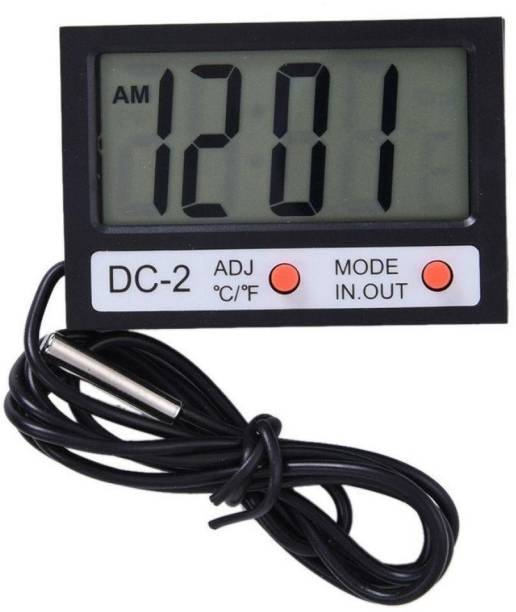 "GoodsBazaar DC-2 MINI 2.1"" CLOCK + TEMPERATURE METER INDOOR OUTDOOR DC2 MINI PORTABLE LCD ELECTRONIC THERMOMETER WITH TIME FUNCTION 12/24 FORMAT CLOCK °C / °F TEMPERATURE THERMOMETER WITH EXTERNAL WIRED PROBE SENSOR FOR FRIDGE FREEZER REFRIGERATOR COOLERS AC CHILLERS AQUARIUM FISH TANK WATER INDOOR OUTDOOR KITCHEN COOKING FOOD MILK CAR HOME OFFICE TEMPERATURE METER DC-2 DIGITAL Pin-Type Digital Moisture Measurer"