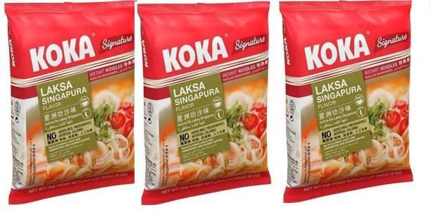 KOKA Laksa Singapura Flavour Instant Noodles -(Pack of 3) Instant Noodles Non-vegetarian