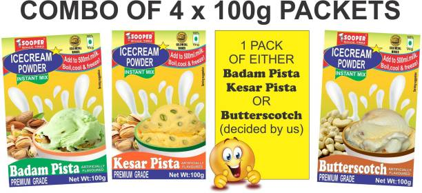 SOOPER ICE CREAM MIX POWDER WITH NUTS COMBO 100g X 4 PACKS 400 g