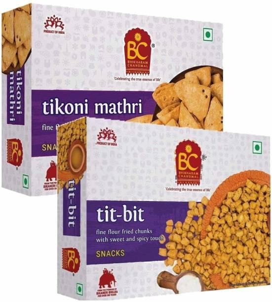 BHIKHARAM CHANDMAL Tit Bit 425gm & Tikhoni Mathri 425gm
