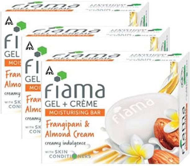 FIAMA Gel + Creme Moisturising Bar Frangipani & Almond Cream 60g (Set of 3)