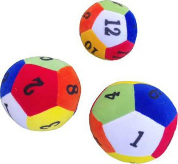 Lil'ted EDUCATIONAL SOFT RATTLE BALL SET COMBO OF 3 BALLS OF SIZES, 9CM, 10CM, 14CM, BEST GIFT FOR NEW BORN BABIES, BOYS AND GIRLS, ALSO GOOD OPTION FOR DOG LOVERS Rattle