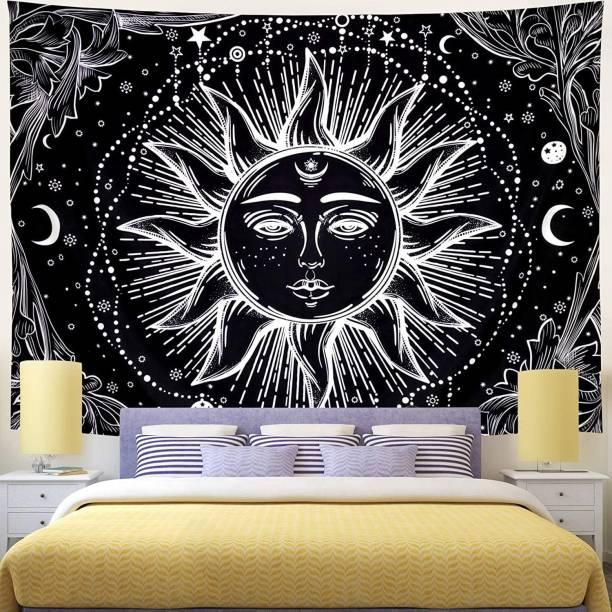 Heyrumbh Handicrafts Mandala Black and White Tarot Sun Moon Start Wall Hanging, Beach Throw, Bedsheet, Table Cover, 54 X 84 Tapestry