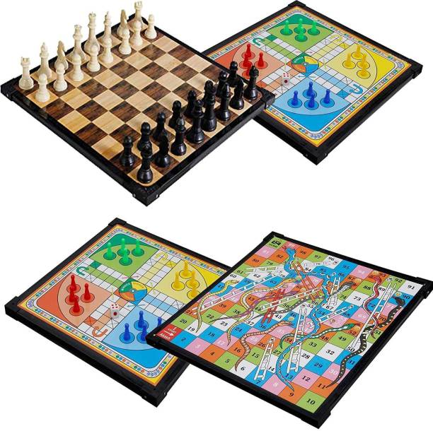 HPG Family Strategy Board Games LUDO CHESS AND SNAKE LADDER 3 IN 1 COMBO Party & Fun Games Board Game