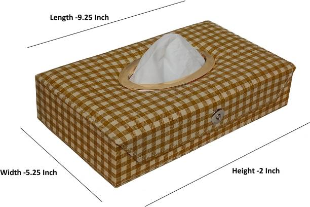 TEGWIN 00010-Beige Tissue Box Leatherette Choclate Vehicle Tissue Dispenser