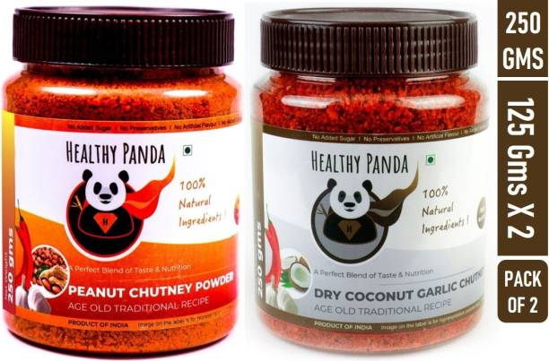 HEALTHY PANDA Peanut/ Groundnut/ Shenga Chutney and Dry Coconut Garlic/ Khobra Lasun/ Kobbari/ Dry Nariyal Chutni - 125 Gram Pack each Chutney Powder