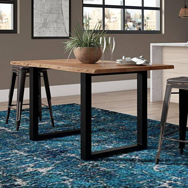 The kashth liveedge Dining Table Custom avilable METALL Dining table 160x90 cm, acacia Solid Wood 6 Seater Dining Table