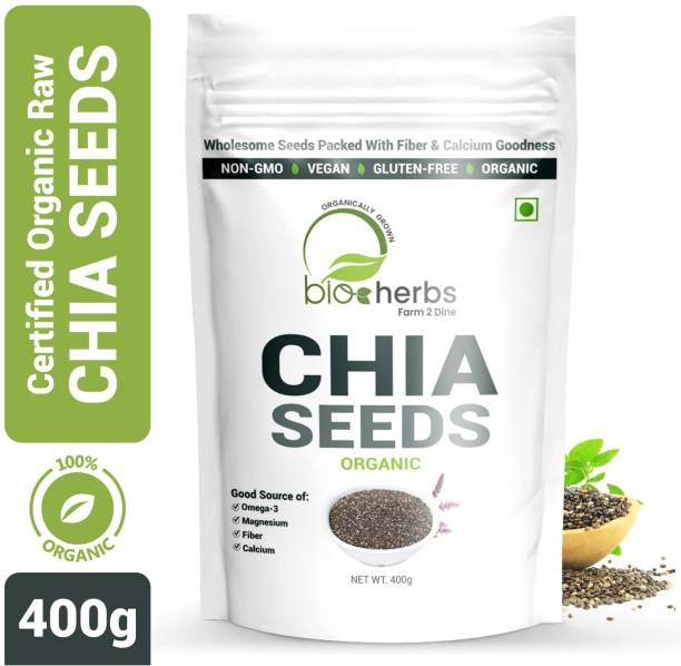 Bioherbs Certified Organic Raw Chia Seeds for Weight Loss With Omega-3