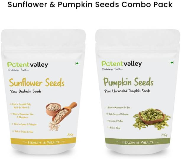 Potentvalley 100%Raw Combo Sunflower and Pumpkin Seeds) use for Weight Loss (200g+200g=400g)