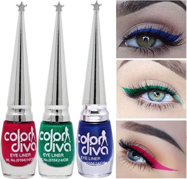 Color Diva Eye Liner, Water Resistant, Long-Lasting, Shade-101L|M|I, Each 6 ml