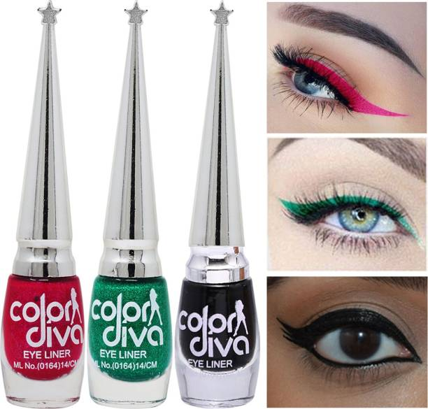 Color Diva Eye Liner, Water Resistant, Long-Lasting, Shade-101K|L|M, Each 6 ml