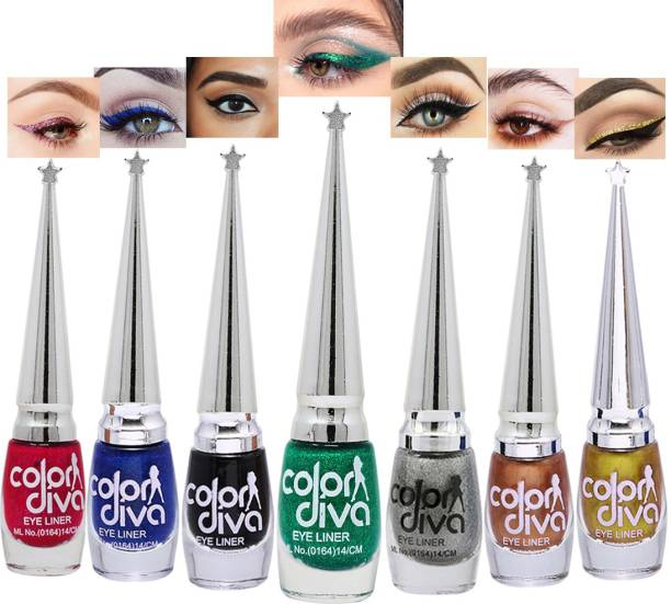 Color Diva Eye Liner, Water Resistant, Long-Lasting, Pink, Blue, Black, Green, Grey, Copper, Gold, Shade-101K|G|S|L|M|I|N, Each 6 ml