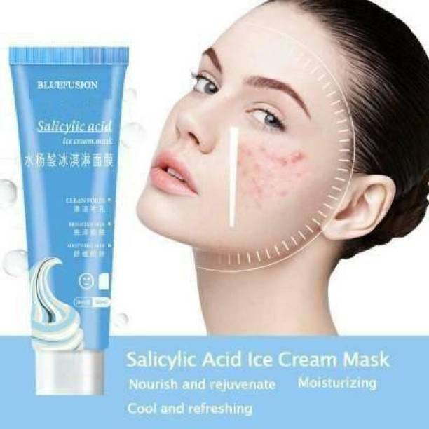 BLUEFUSION face Salicylic Acid Ice Cream Mask Acne Moisturizing Smear Mask Blackheads Remover Mask Cleansing & Shrinking Pores