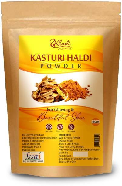 Khadi Cosmetics 100% Natural Wild Turmeric Powder (Kasturi Manjal / Amba Haldi / Jangli Haldi)