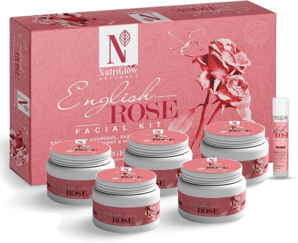NutriGlow NATURAL'S ENGLISH ROSE HYDROSOL FACIAL KIT/FOR SOOTHES SKIN IRRITATION/TREATS INFECTION