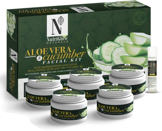 NutriGlow NATURAL'S ALOE VERA & CUCUMBER FACIAL KIT WITH HYALURONIC ACID AND PRO VITAMIN B5/ FOR HYDRATES AND HEALS DRY SKIN