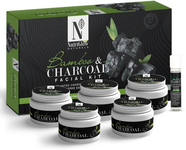 NutriGlow NATURAL'S BAMBOO AND ACTIVATED CHARCOAL FACIAL KIT/FOR GLOWING SKIN/DETOXIFIES SKIN/REMOVES BLEMISHES