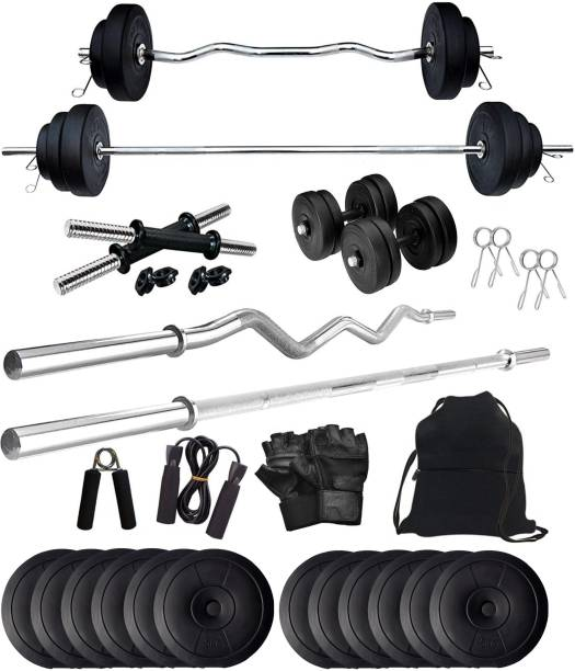 Star X 60 kg PVC 60KG Weight Plates with 3Ft Curl Rod and 5Ft Straight Rod with Gym Accessories Home Gym Combo (5Kg x 12 Plates - 60) Home Gym Combo