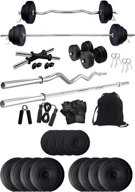 Star X 50 kg PVC 50KG Weight Plates with 3Ft Curl Rod and 5Ft Straight Rod with Gym Accessories Home Gym Combo (5KG x 8 Plates, 2.5KG x 4 Plates - 50KG) Home Gym Combo
