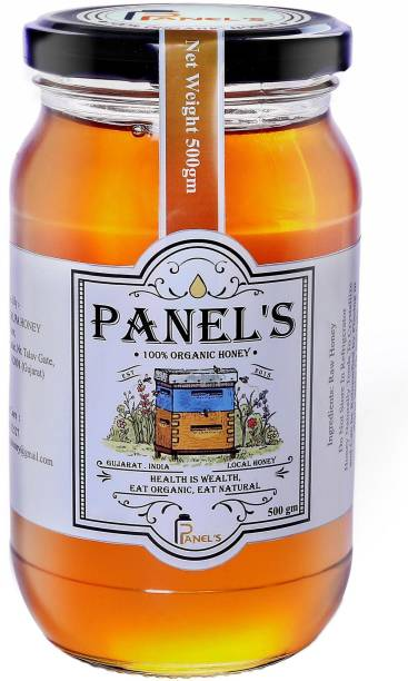 PANEL'S Natural Honey Pure and Organic | no added sugar syrup,its totally pure & adulteration |hence it help to strengthening your immunity & weight loss (500gm Shahad with Dipper )