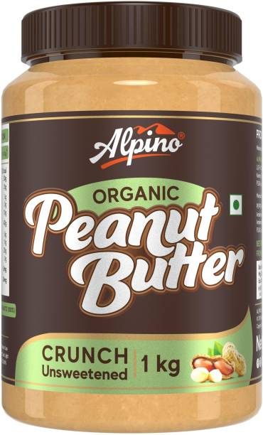 ALPINO Organic Natural Peanut Butter Crunch 1 KG | Unsweetened | Made with 100% Roasted Organic Peanuts | 30% Protein | No Added Sugar | No Added Salt | No Hydrogenated Oils | Non GMO | Gluten Free | Vegan | 1000 g