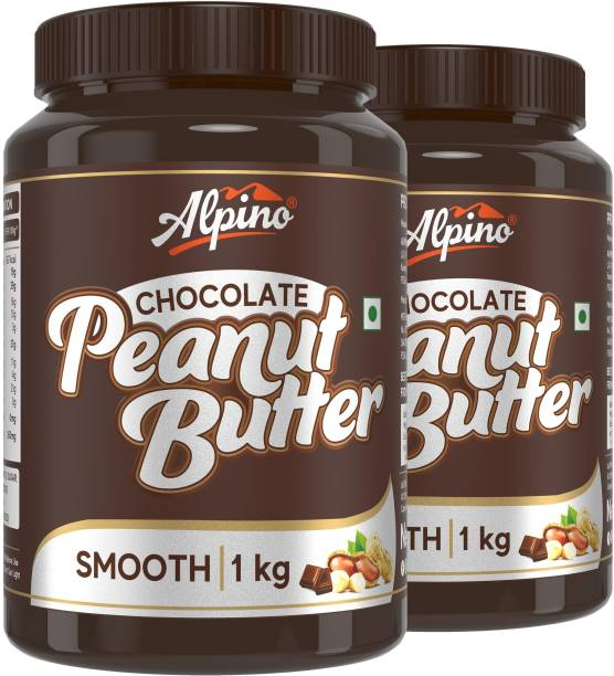 ALPINO Chocolate Peanut Butter Smooth 2 KG   Made with Roasted Peanuts, Cocoa Powder & Choco Chips   20% Protein   Non GMO   Gluten Free   Vegan   1 KG Pack of 2   2 kg