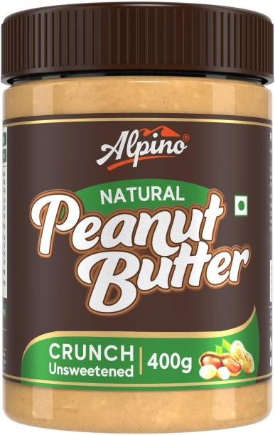 ALPINO Natural Peanut Butter Crunch 400 G | Unsweetened | Made with 100% Roasted Peanuts | 30% Protein | No Added Sugar | No Added Salt | No Hydrogenated Oils | Non GMO | Gluten Free | Vegan | 400 g