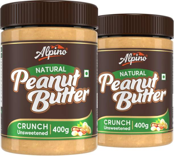 ALPINO Natural Peanut Butter Crunch 800 G | Unsweetened | Made with 100% Roasted Peanuts | 30% Protein | No Added Sugar | No Added Salt | No Hydrogenated Oils | Non GMO | Gluten Free | Vegan | 400 G Pack of 2 | 800 g