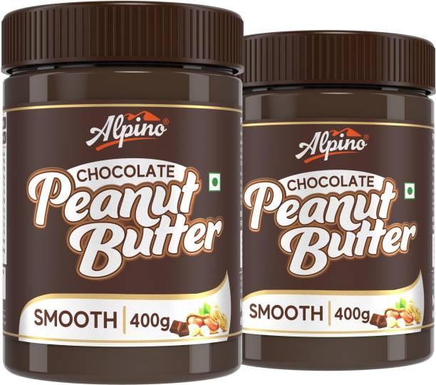 ALPINO Chocolate Peanut Butter Smooth 800 G | Made with Roasted Peanuts, Cocoa Powder & Choco Chips | 20% Protein | Non GMO | Gluten Free | Vegan | 400 G Pack of 2 | 800 g