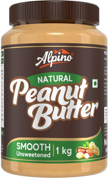 ALPINO Natural Peanut Butter Smooth 1 KG | Unsweetened | Made with 100% Roasted Peanuts | 30% Protein | No Added Sugar | No Added Salt | No Hydrogenated Oils | Non GMO | Gluten Free | Vegan | 1 kg