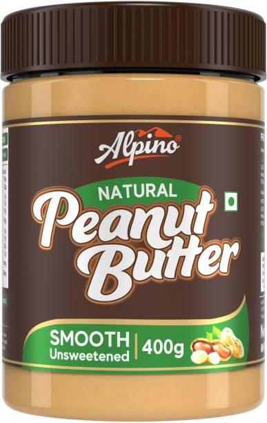ALPINO Natural Peanut Butter Smooth 400 G | Unsweetened | Made with 100% Roasted Peanuts | 30% Protein | No Added Sugar | No Added Salt | No Hydrogenated Oils | Non GMO | Gluten Free | Vegan | 400 g