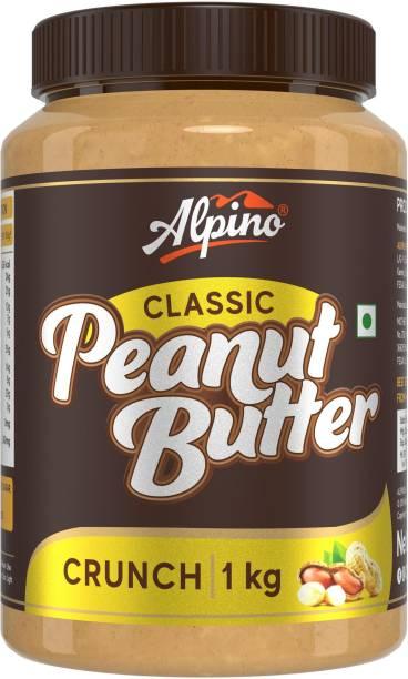 ALPINO Classic Peanut Butter Crunch 1 KG | Made with Roasted Peanuts | 25% Protein | Non GMO | Gluten Free | Vegan | 1 kg