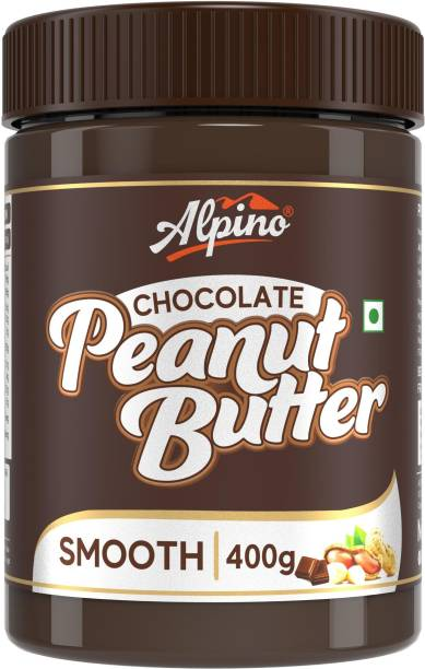 ALPINO Chocolate Peanut Butter Smooth 400 G | Made with Roasted Peanuts, Cocoa Powder & Choco Chips | 20% Protein | Non GMO | Gluten Free | Vegan | 400 g