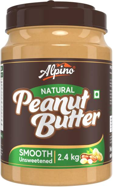 ALPINO Natural Peanut Butter Smooth 2.4 KG | Unsweetened | Made with 100% Roasted Peanuts | 30% Protein | No Added Sugar | No Added Salt | No Hydrogenated Oils | Non GMO | Gluten Free | Vegan | 2400 g