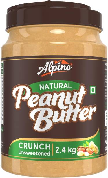 ALPINO Natural Peanut Butter Crunch 2.4 KG | Unsweetened | Made with 100% Roasted Peanuts | 30% Protein | No Added Sugar | No Added Salt | No Hydrogenated Oils | Non GMO | Gluten Free | Vegan | 2400 g
