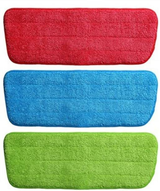 GaxQuly 3pcs Microfiber Flat Pros Reusable Spray Mop Replacement Pads Heads for Wet/Dry Mops for Floor Cleaning and Scrubbing (16.5 x 5.5 inches, 42 x 14 cm, Multicolor) Wet & Dry Mop