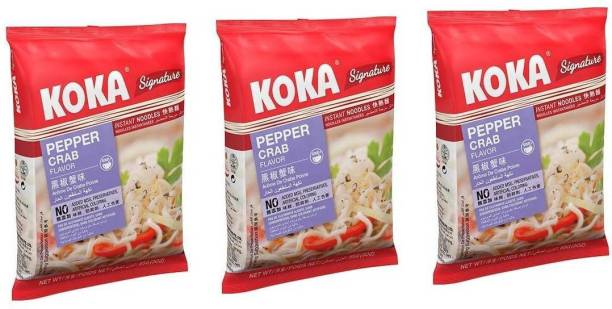 KOKA Pepper Crab Flavour Instant Noodles (Imported) -(Pack of 3) Instant Noodles Non-vegetarian