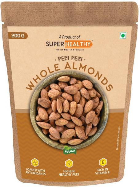 Super Healthy Peri Peri Whole Almonds | Edible Flavored Almond Pack | Organic and Crunchy Almonds for Eating - 200g Almonds