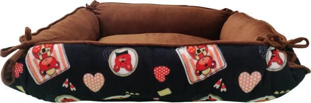 Flipkart Perfect Homes Studio Luxurious Durable Dual Colour cartoon Print Brown Velvet 2 in 1 Dog Cat Pet Bed Cushion L Pet Bed