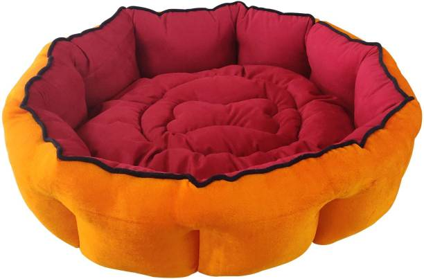 Dogerman Reversible Comfortable Velvet Dog Cat Pet Bed (Diameter x Height 61x20 cms) Small) S Pet Bed