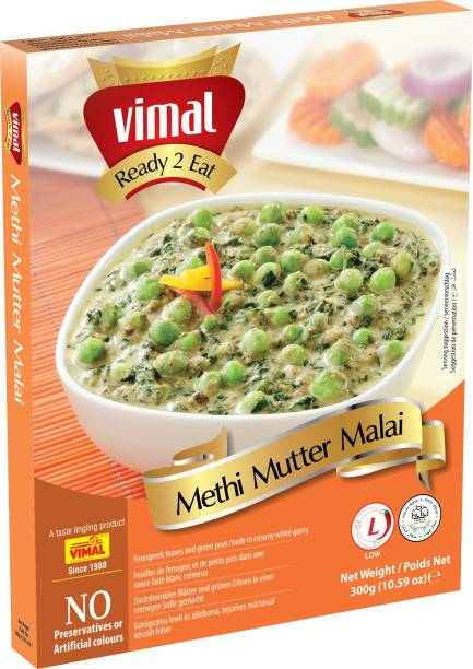 VIMAL Ready to Eat Tasty Methi Mutter Malai Instant Mix Vegetarian Meal with No Added Preservative and Colours - 300g 300 g