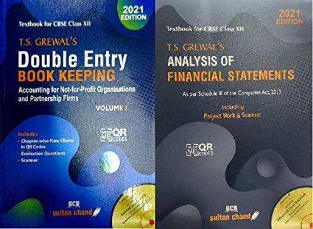 T.S. Grewal's Double Entry Book Keeping:Accounting For Not-For-Profit Organizations & Analysis Of Financial Statements(2021-2022 Session) (Set Of 2 Books) For Class 12